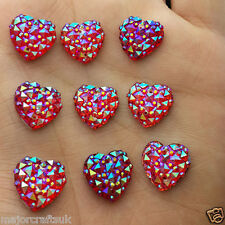 24pcs Red AB 12mm Flat Back Heart Sew-On Resin Rhinestones Buttons Gems