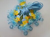 12 Duck Pacifier Necklaces Baby Shower Game Blue Favors Prizes Boy Decorations