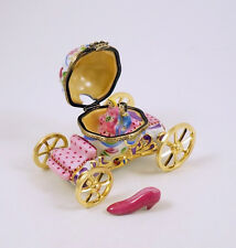 NEW FRENCH LIMOGES BOX CINDERELLA 'S CARRIAGE COACH W CINDERELLA PRINCE SLIPPER