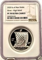 2020 Isle of Man Noble Piedfort High Relief 2 oz Silver Coin - NGC PF 70 UCAM