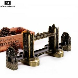 Antique Bronze London Statue Tower Bridge Landmark Metal Model Home Decoration