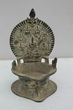 Old Vintage Brass Handcrafted Engraved Lamp with Laxmi Figurine NH1088