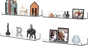 "Acrylic Shelves Shelf for Wall Storage Organizer 4 Pack 15"" Long Floating"