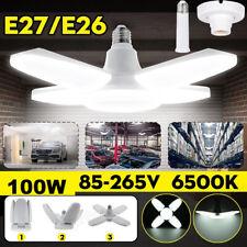 100W Led Garage Light Bulb Deformable Ceiling Fixtures Workshop Lamp E27 Holder