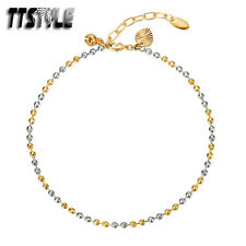 Filled Ball Anklet Ttstyle Two Color Gold