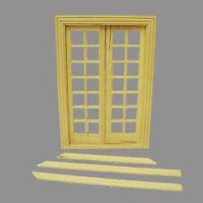 Zimmertür Tür aus Naturholz Flügeltür Holz mit Plexiglas Puppenhaus 1:12 2