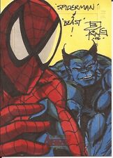 SPIDER-MAN & BEAST hand drawn sketch card Brian KONG Complete Avengers 2006