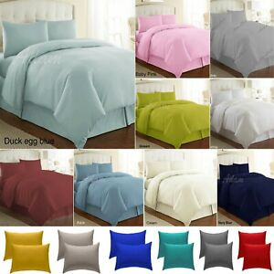 Plain Dyed Duvet Cover Quilt Cover Bedding Set Authentic Dyed Colours All Sizes