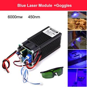 Powerful Analog PWM CNC 6W 6000mW Blue Laser Module Engraving TTL + Goggles FN