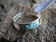 Spectacular sterling silver Zuni ladies ring 8 white fire opals size 6 or 8 1/2