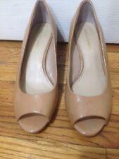 Arturo Chiang Beige 8 /38 M Wedge Leather Peep Toe Heels Classic Nude Sand Tan
