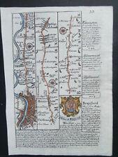 OWEN BOWEN  WINDSOR  STRIP ROAD MAP SALISBURY FARNHAM ANTIQUE 1753 WITH COLOUR