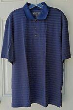 Pebble Beach Mens Polo Shirt Large Blue Stripes Short Sleeve
