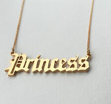 Personalised Old English Font Name Necklace,18K Gold Plated Silver, HANDMADE