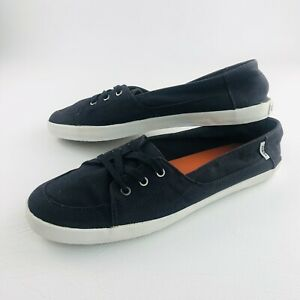 Vans Ladies Slip On Flat Sneaker Shoes Size US 10 Ortholite Insole Black Canavas