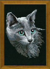Riolis Counted Cross Stitch Kit - The Russian Blue Cat