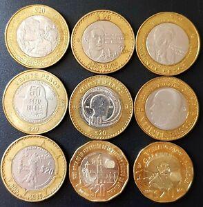 2000 - 2019 Mexico 9 LOT $20 Pesos Bimetallic 9 types!!! CIRCULATED.
