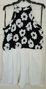 RIVER ISLAND Floaty Floral Lined Playsuit - Size 18 - Brand New