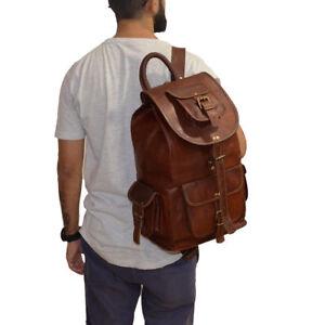 Leather Backpack Men Bag Travel Laptop Shoulder Rucksack School Collage Satchel