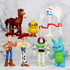 7pcs/set Action Figure Sheriff Jessie Buzz Lightyear Forky Toys Gifts For Kids