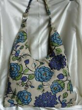 LIGHT BLUE HANDMADE FLORAL BEADED LINEN SHOULDER BAG/HOBO/TOTE/SLING/SHOPPER