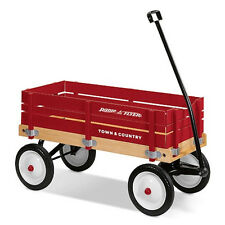 Radio Flyer Red Town Country Kids All Terrain Ride On Wagon Toys Sides Wood