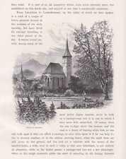 Interlaken Kirche Staubbachfall HOLZSTICHE um 1880 Schweiz