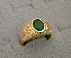 Men's Oval Green Emerald CZ Yellow Gold Plated Ring New Size 11 Free Shipping