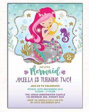 Little Mermaid Invitation Birthday Party Invite Purple Pink Teal Gold Starfish