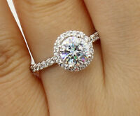 1.50 Ct 14K White Gold Round Halo Engagement Wedding Bridal Propose Promise Ring