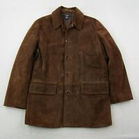 J Crew Suede Leather Coat Adult Large Men Brown Lined Button Up Jacket Travel