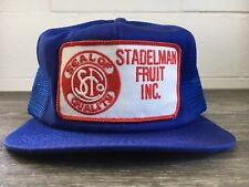 K Products Hat Vtg 80s Trucker Mesh Patch USA Stadelman Fruit Workwear Snapback