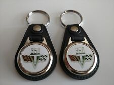 CHEVROLET 350 CROSS FLAG KEYCHAIN 2 PACK MUSCLE CAR LOGO FOB
