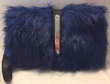 Donna Salyers Fabulous Furs Clutch Handbag Wristlet Blue Faux Fur New