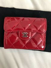 Chanel classic cc logo  red patent wallet purse small card holder 100% authentic