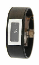Stainless Steel Watch Ya078606 Gucci Black Dial Black Leather