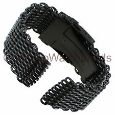 24mm Milano PVD Black Steel Solid Shark Mesh Push Button Divers Clasp Watch Band
