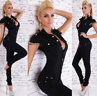 Women's Denim Jeans Jumpsuit Black Overall Skinny Legs Jeans Gold Chain Siz 6-14