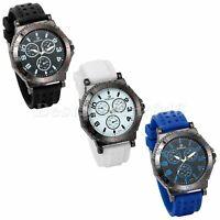 Fashion Casual Big Dial Silicone Band Sports Analog Quartz Wrist Watch Mens Gift