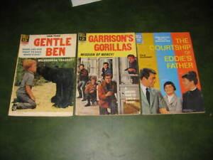 Lot of 3 Vintage Dell Silver Age TV Comic Books Gentle Ben, Garrison's Gorillas