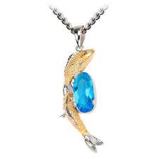 Nuevo Inox Acero Inoxidable Tono Dorado De Cristal Azul Peces Carpa Colgante Collar