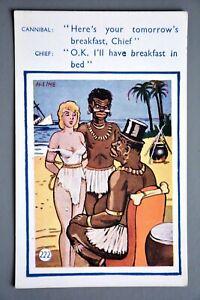 Postcard, Comic, Harry Lime/Coastal Cards 222, Cannibal Tribal Chief Blonde Girl