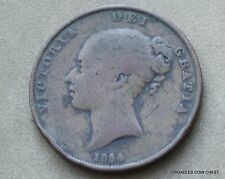 1854/3 QUEEN VICTORIA  PENNY VERY CIRCULATED ENGLISH AS IMAGED  #GGFB9