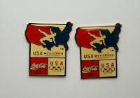 2  USA Olympic Wrestling Team Coca-Cola Coke Sponsor Pin NOS New