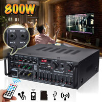 110V bluetooth Home Stereo Amplifier Powered Equalizer EQ Receiver SD USB 2Ch