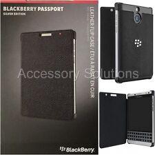 OEM BlackBerry Passport Silver Edition Leather Flip Case Black, ACC-62023-001