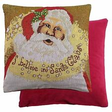 """LUXURY SPARKLY CHRISTMAS SANTA FATHER COTTON TAPESTRY RED GOLD CUSHION COVER 18"""""""