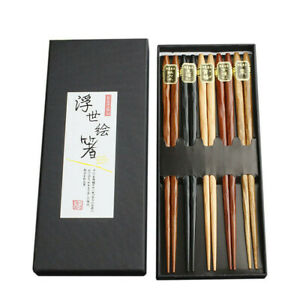 Japanische EssstäBchen Holz 5 Paare Wiederverwendbare NatüRliche EssstäBchen