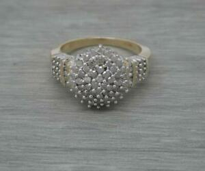 Ladies 9ct Yellow Gold 100 Points 1ct Diamond Large Cluster Ring,UK size T