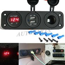Dual USB Port Charger + LED Voltmeter Panel + Cigarette Lighter Sockets 12V-24V